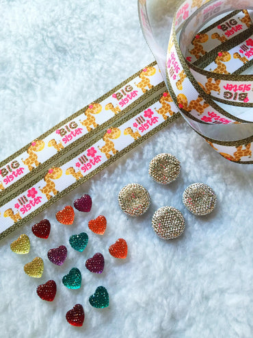 $5 Big Sister 7/8 Grosgrain Ribbon & beads