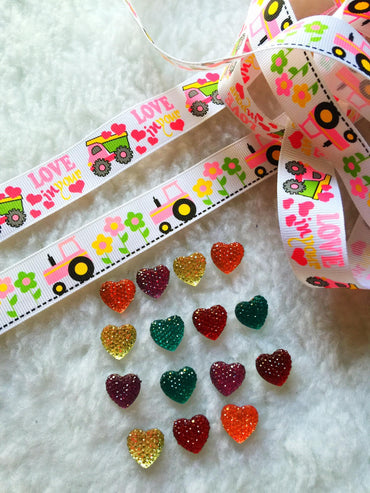 $5 Love 7/8 Grosgrain Ribbon & beads