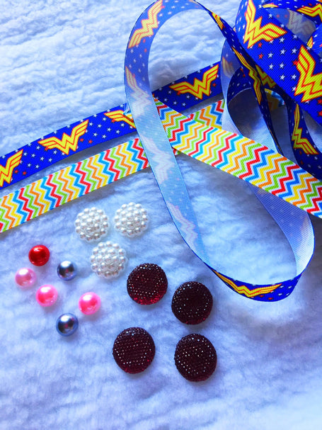 $5 Wonder Woman Grosgrain Ribbon 7/8 & beads