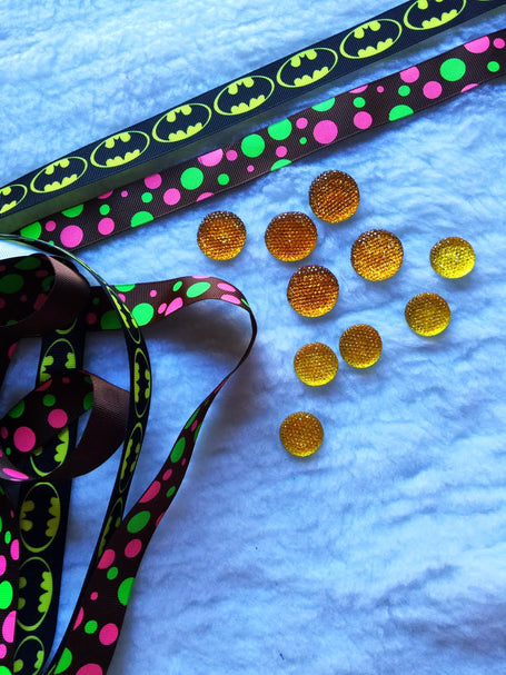 $5 Batman Grosgrain Ribbon 7/8 & beads