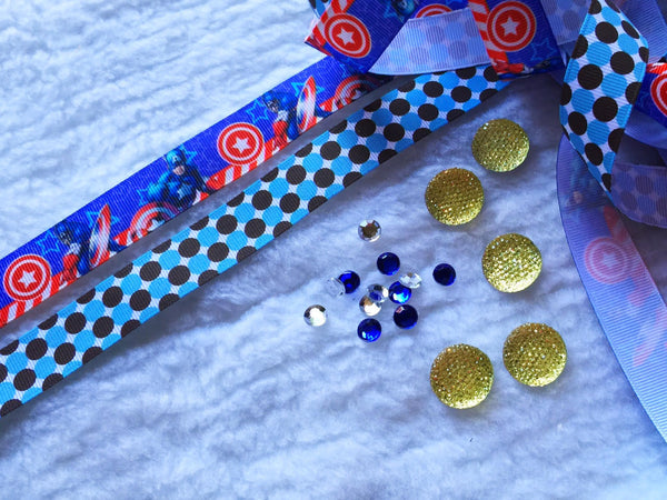 $5 Captain America  Grosgrain Ribbon 7/8 & beads