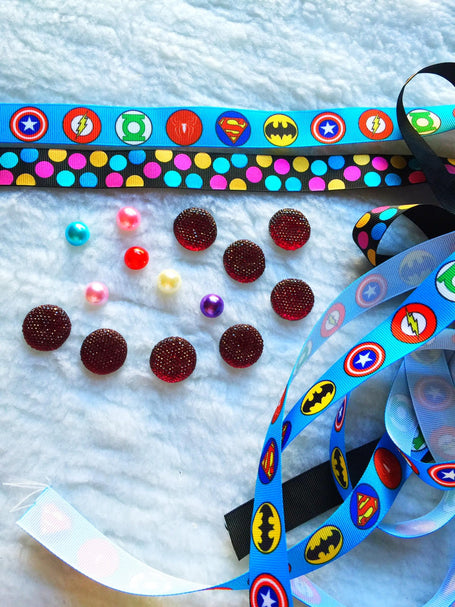 $5 Super Heroes Grosgrain Ribbon 7/8 & beads