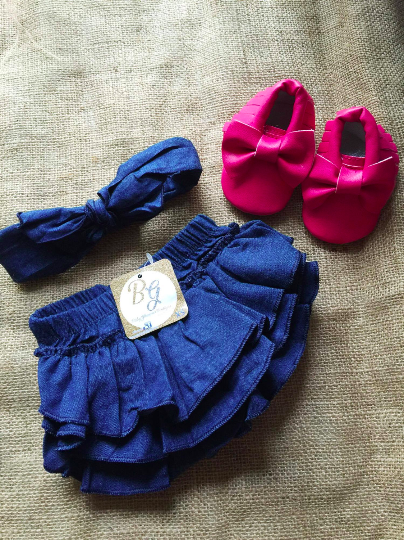 Denim Diaper Cover & headband $14.50 with shoe option $27