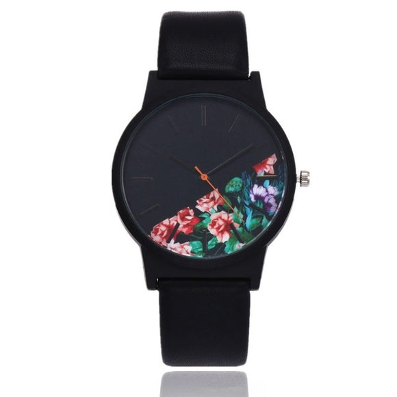 Vintage Black Floral Quartz Watch