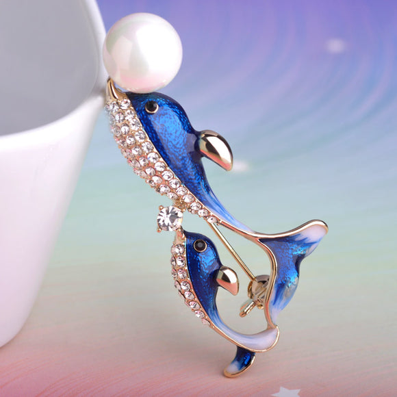 Dolphin Brooch With Austrian Crystal And Pearl