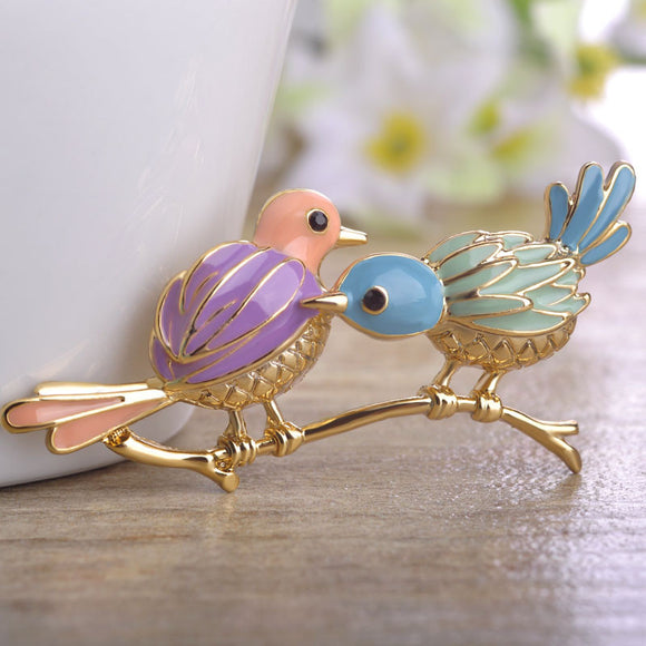 Multi-color Couple Bird Brooch