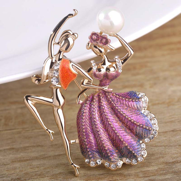 Latin Dancing Couple Brooch With Pearl And Cubic Zirconia