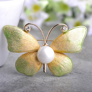 Glitter Butterfly Brooch With Simulated Pearl