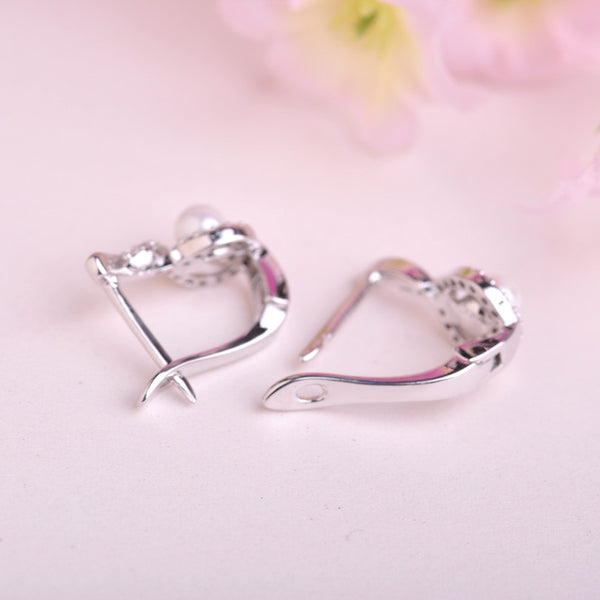 Elegant Pearl Teardrop Huggies Earrings With Cubic Zirconia