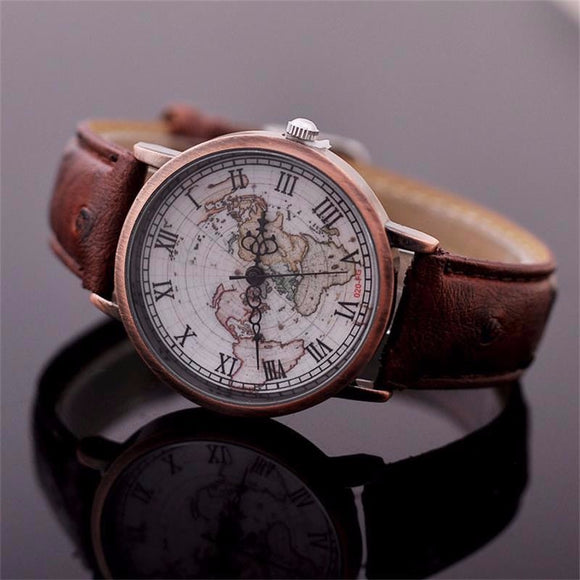 Casual World Map Quartz Watch