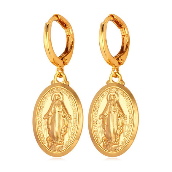 Dainty Virgin Mary Hoop Earrings