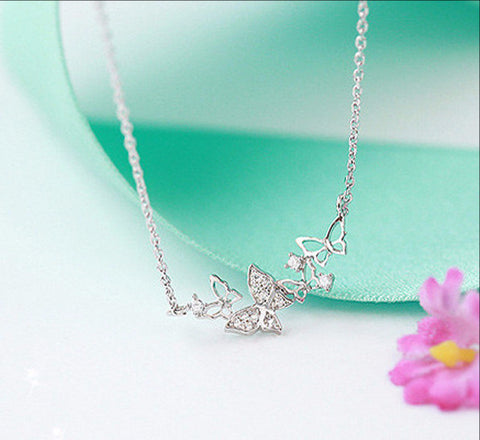 Romantic Butterflies Cubic Zirconia Necklace