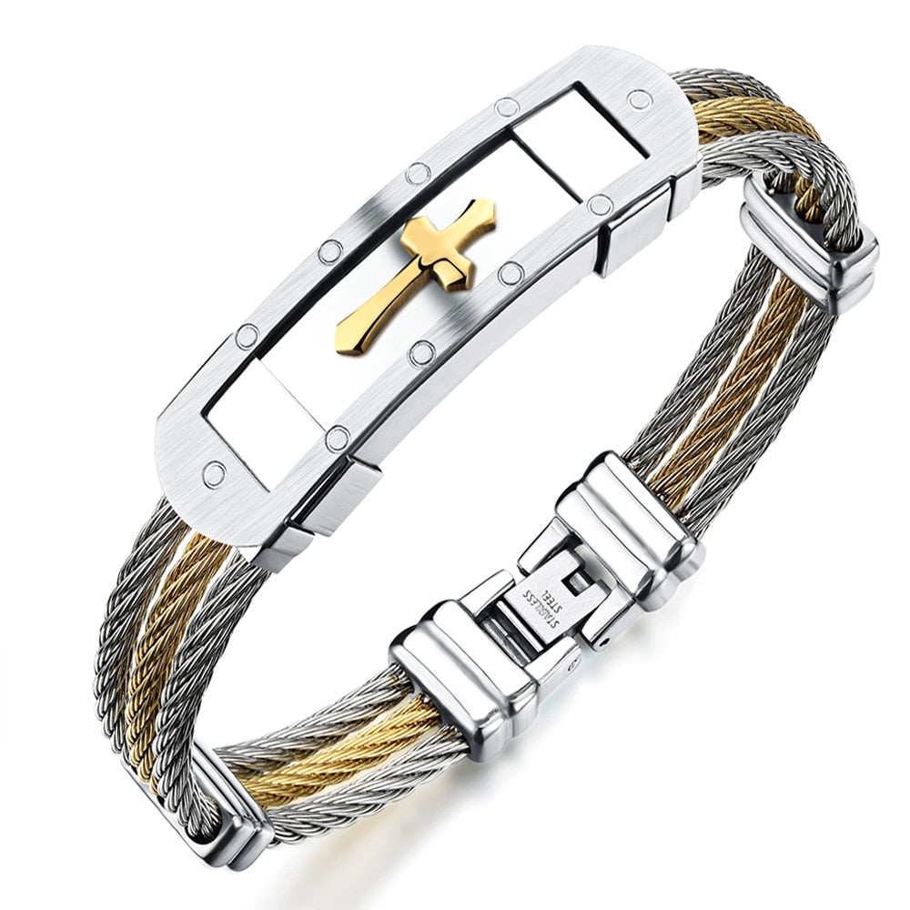 Cross Cuff Bangle Bracelet With 3 Rows Wire Chain