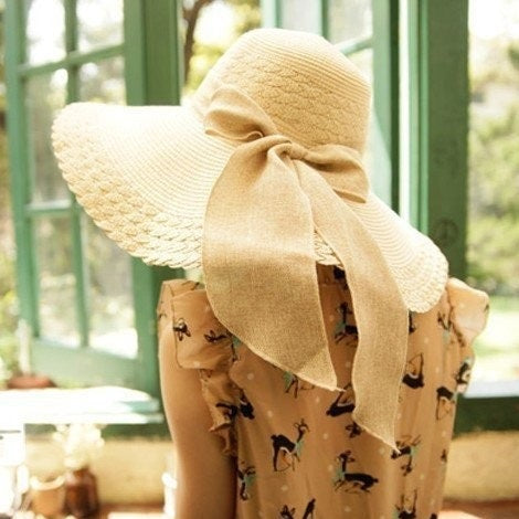 Foldable Floppy Beach Hat With Bowknot