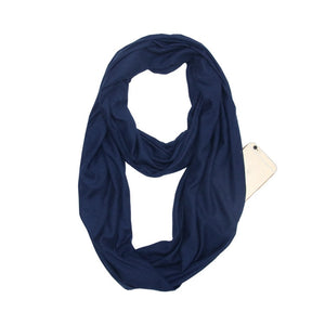 Anti Pickpocket Scarf with Hidden Zipper Pocket