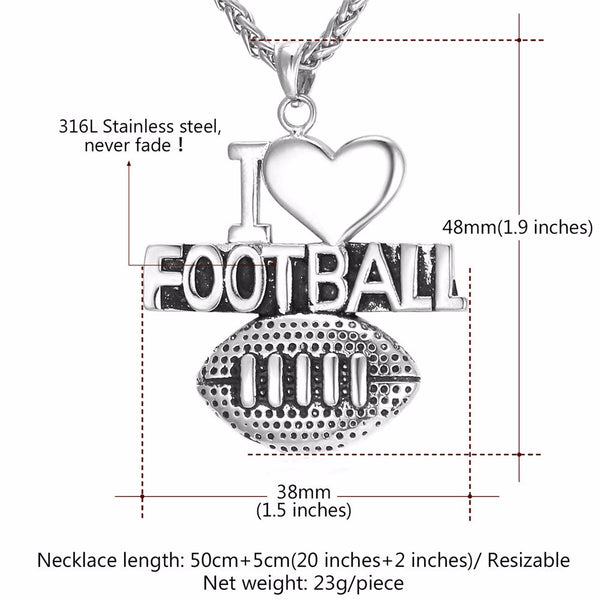 """I Love Football"" Charm Pendant Necklace"