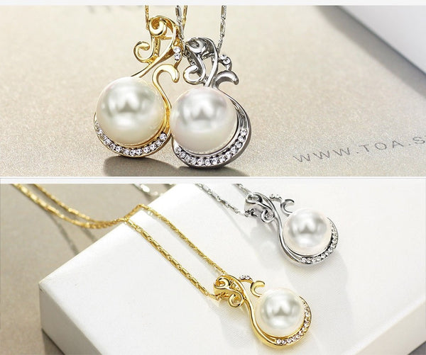 Elegant Pearl Swan Pendant Necklace With Rhinestone