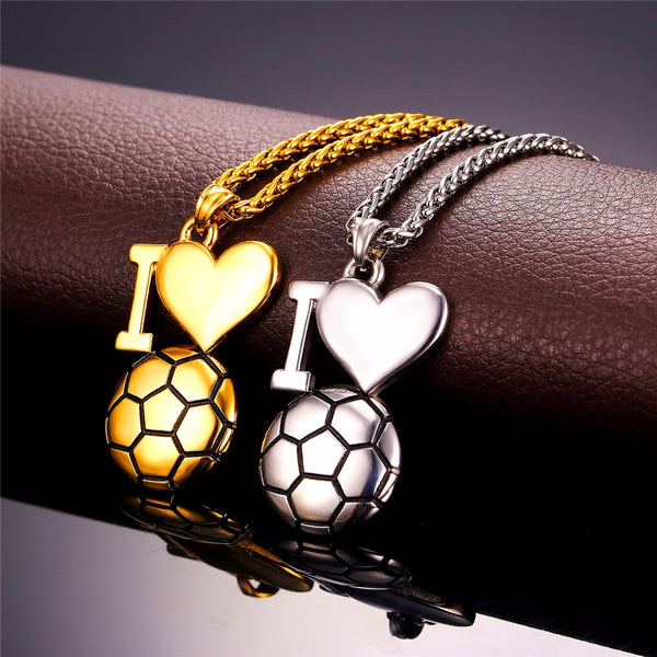 """I Heart Soccer"" Charm Pendant Necklace"