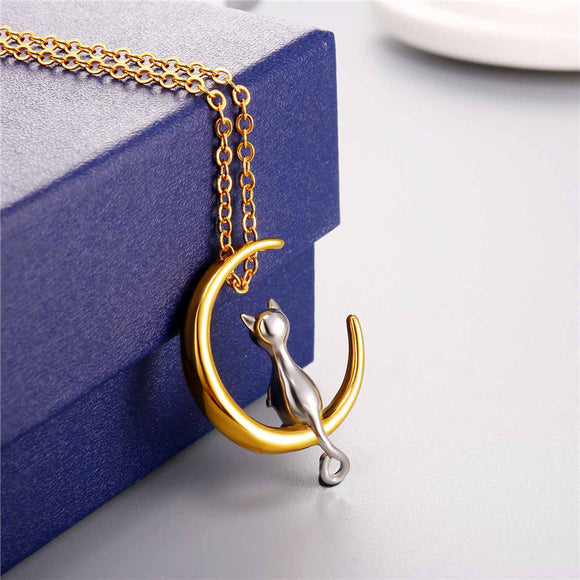 The Moonlight Cat Pendant Necklace