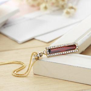 Austria Rhinestone & Red Zircon Bar Pendant Necklace