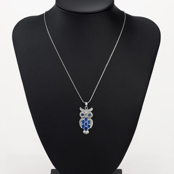 Cute Blue Horned Owl Pendant Necklace With Rhinestone