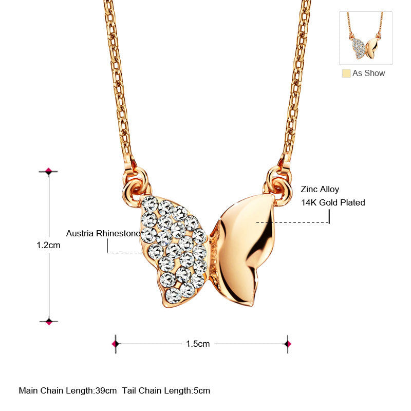 Elegent Butterfly Necklace With Rhinestones