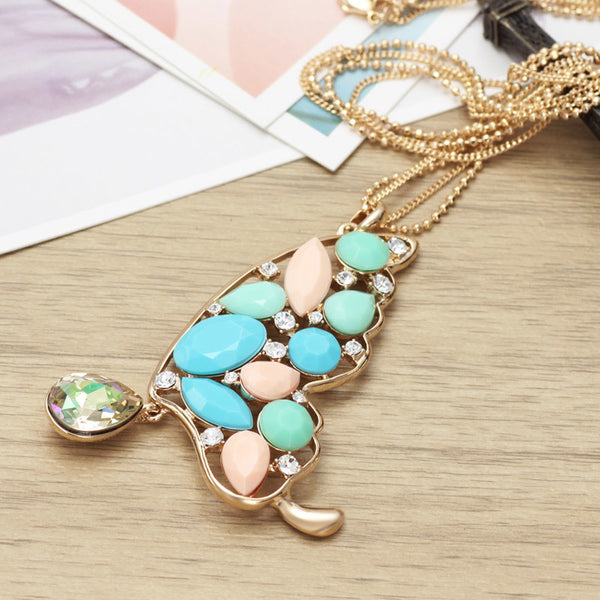 Designer Multi Color Butterfly Pendant Necklace
