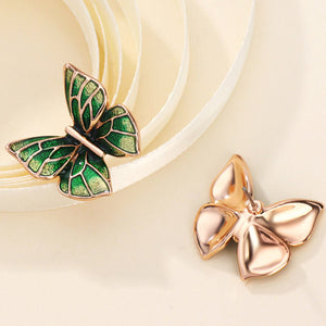 Vintage Green Butterfly Stud Earrings