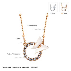 Eternity Rhinestone Necklace With Shell Butterfly