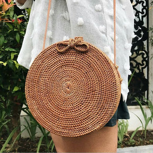 Round Rattan Bag with Leather Shoulder Strap