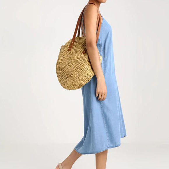 Round Woven Straw Shoulder Bag