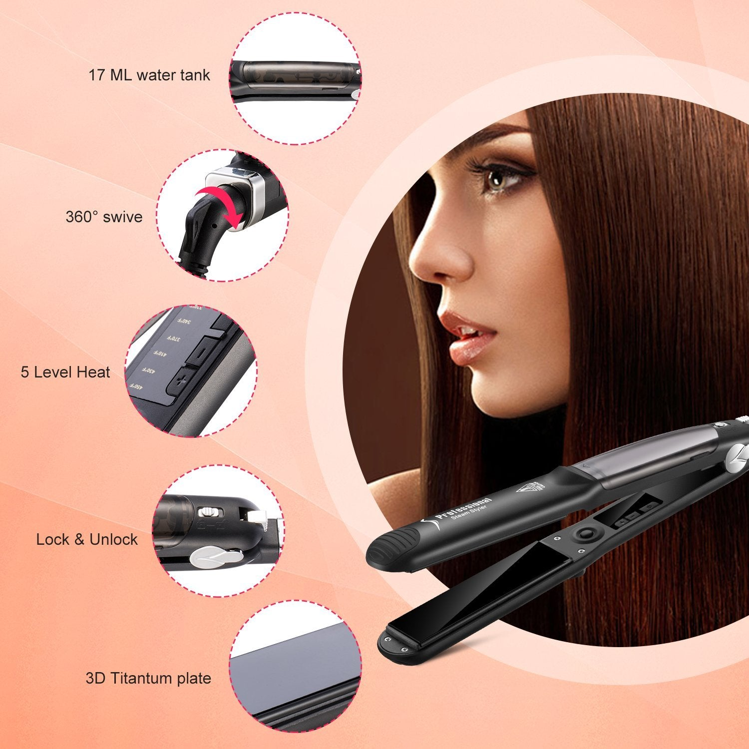 Salon Professional Hair Steam Straightener