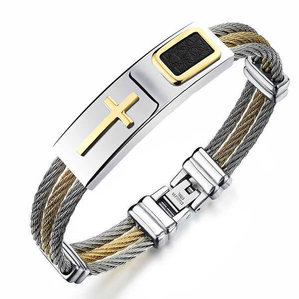 Strong Faith Men's Christian Bangle Bracelet