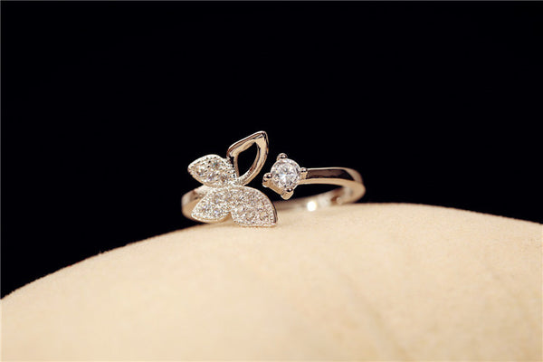 Butterfly Zircon Crystal Open Ring