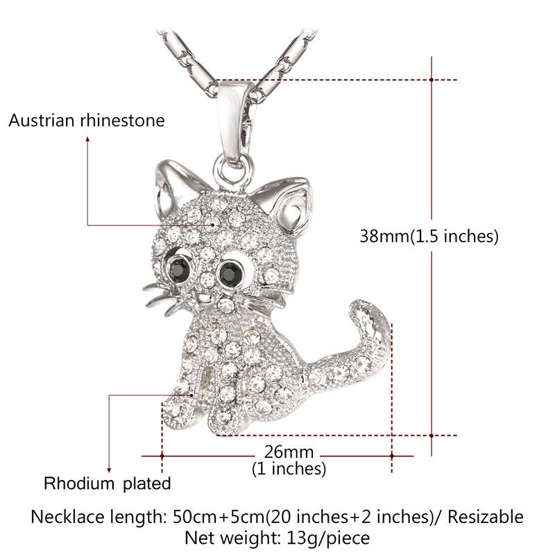 Cute Cat Pendant Necklace With Rhinestone