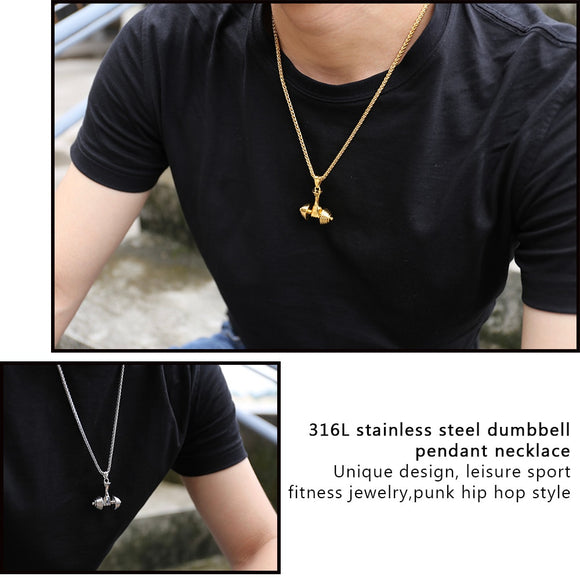Fitness Dumbbell Pendant Necklace