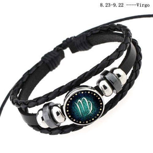 12 Constellation Braided Leather Bracelets