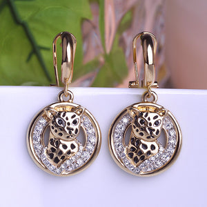 Cool Leopard Earrings With Austrian Crystals