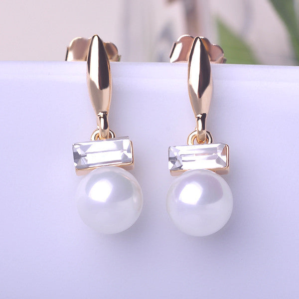 Fashion Pearl And Crystal Drop Earrings