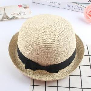 Mother And Daughter Straw Bowler Hat With Bowknot