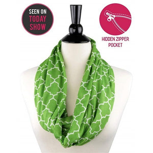Quatrefoil Design Infinity Scarf with Hidden Pocket