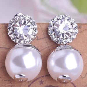 Pearl With Big Austrian Crystal Flower Dangle Earrings