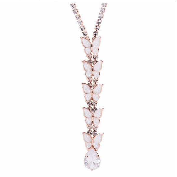 Rhinestone & Simulated Pearl Butterfly Y-Necklace