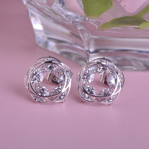 Circle Knot Stud Earrings With Cubic Zirconia