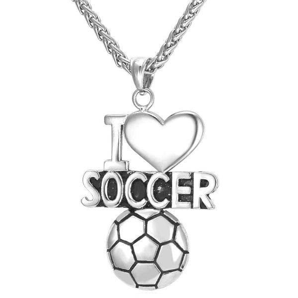 """I Love Soccer"" Charm Pendant Necklace"