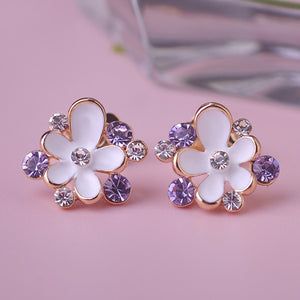 Gold Finish Enamel Flower Earrings With Austrian Crystal