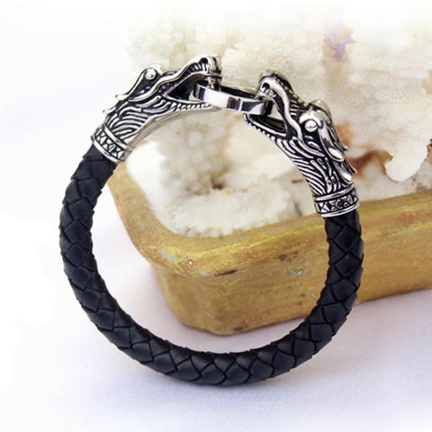 Bracelets - Vikings Leather, Stainless Steel Dragon Head Bracelet