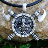 Necklaces - Berserker Double Axe Shield Pendant