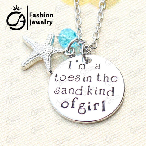 Necklaces - I Am A Toes-in-the-Sand Kind Of Girl Charm Necklace