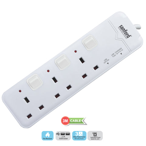 Sanford 3 Way Extension Socket with USB - SF 10117ES